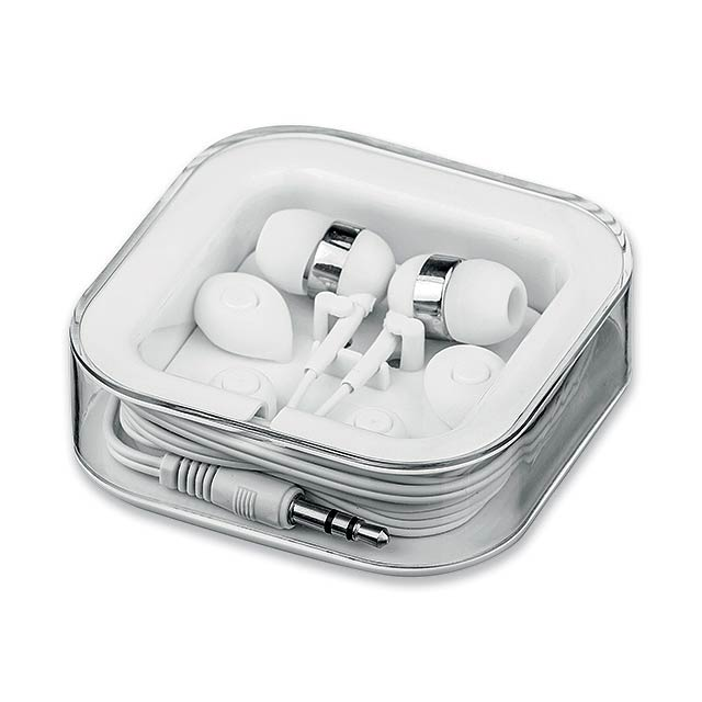 MULTIBUD - Set of plastic audio headphones and 4 changeable extensions in plastic case. Jack connector 3,5 mm, cable length 1,2 m. - white