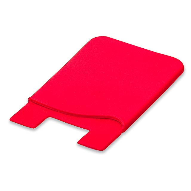 WASIL - Silicone self-adhesive case for credit cards and other ID cards. - red