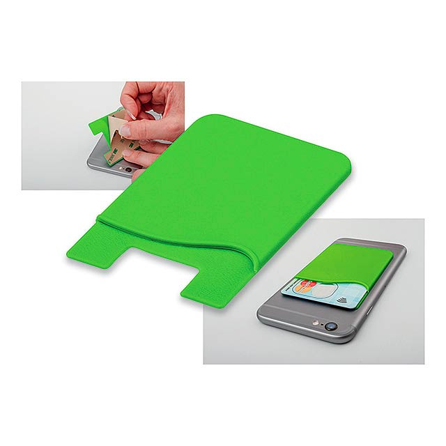 WASIL - Silicone self-adhesive case for credit cards and other ID cards. - green