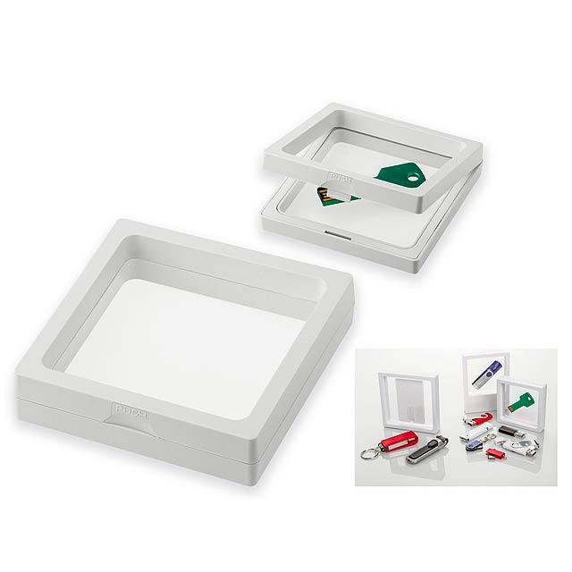 UNIFRAME I - Univerzální plastový rámeček s fólií, lze využít jako dárkové balení.      - bílá