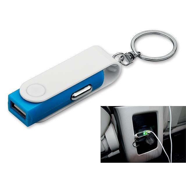 CARTECH - USB adaptér do automobilu z plastu s výstupem 5V/1A a vstupním napětím 12-24V.    - nebesky modrá