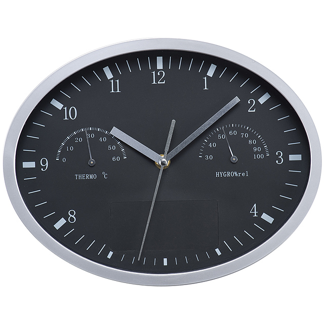 Wall clock with hygrometer, thermometer and click system - black