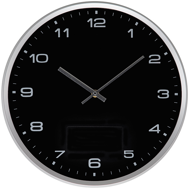 Wall clock with silver frame and click system - black