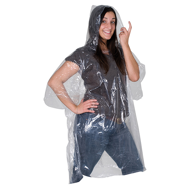 Rain poncho in plastic cover - transparent