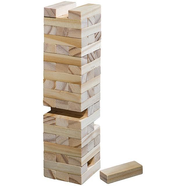 Dřevěná stavební kostka - hnědá