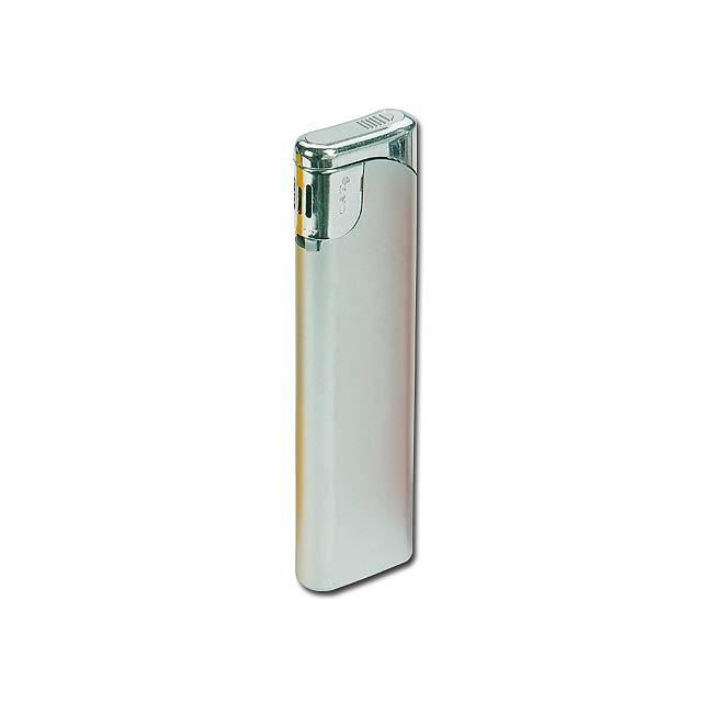 CAT - plastový plnitelný piezo zapalovač - stříbrná