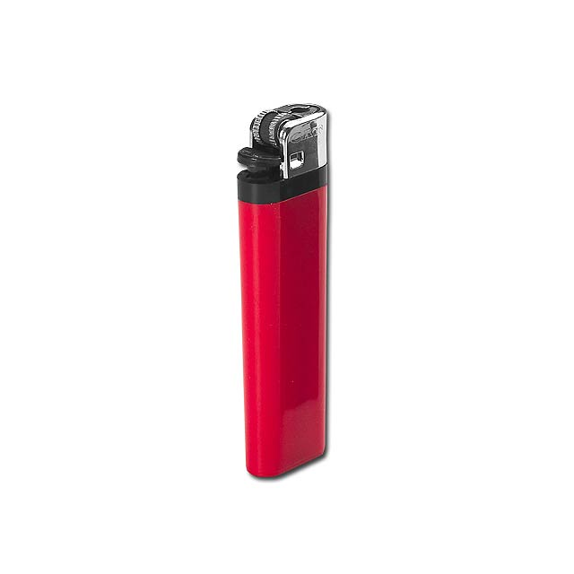 MAXI - Plastic single-use gas lighter with flint firing. - red
