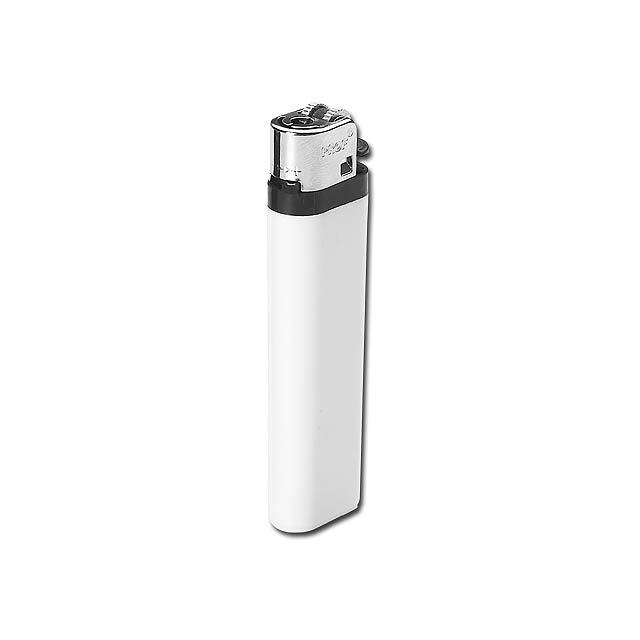 MAXI - Plastic single-use gas lighter with flint firing. - white