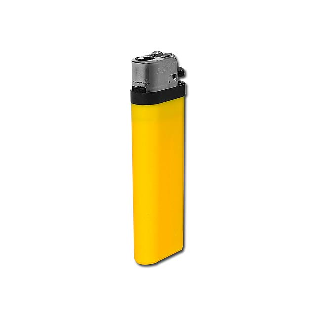 MAXI - Plastic single-use gas lighter with flint firing. - yellow
