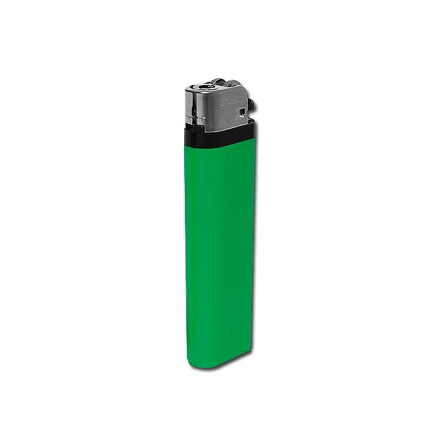 MAXI - Plastic single-use gas lighter with flint firing. - green