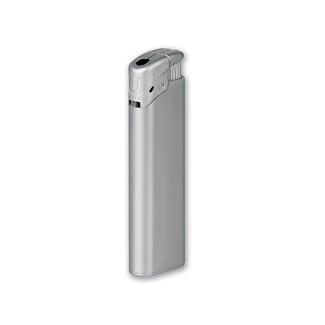 BLAZE - plastový plnitelný piezo zapalovač - stříbrná
