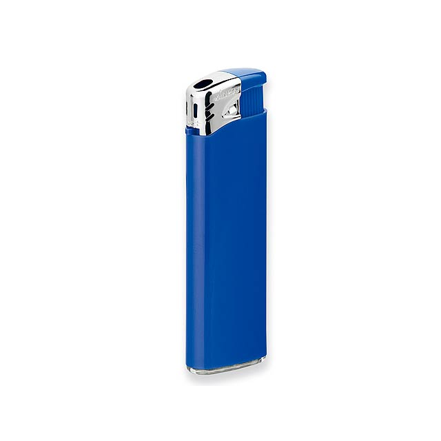 FLAMING - Plastic refillable piezo gas lighter. - blue