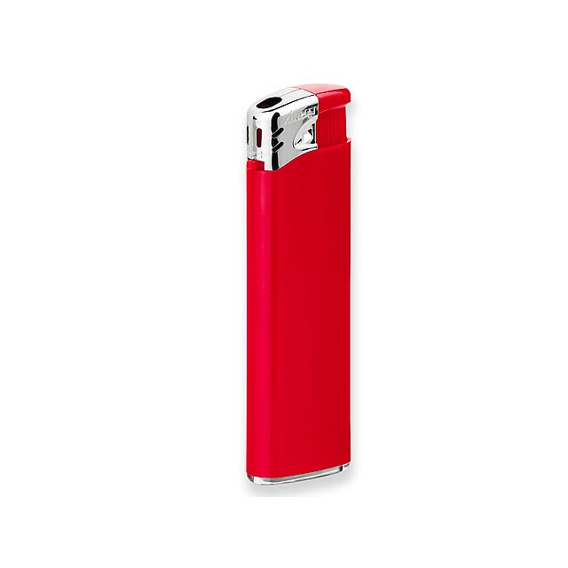 FLAMING - Plastic refillable piezo gas lighter. - red