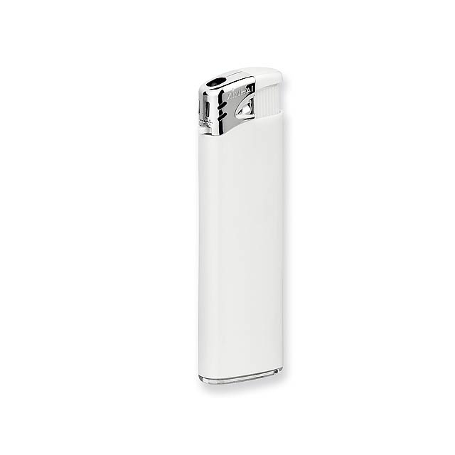 FLAMING - Plastic refillable piezo gas lighter. - white