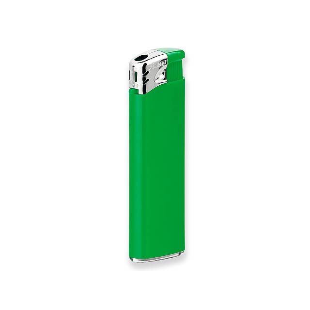 FLAMING - Plastic refillable piezo gas lighter. - green