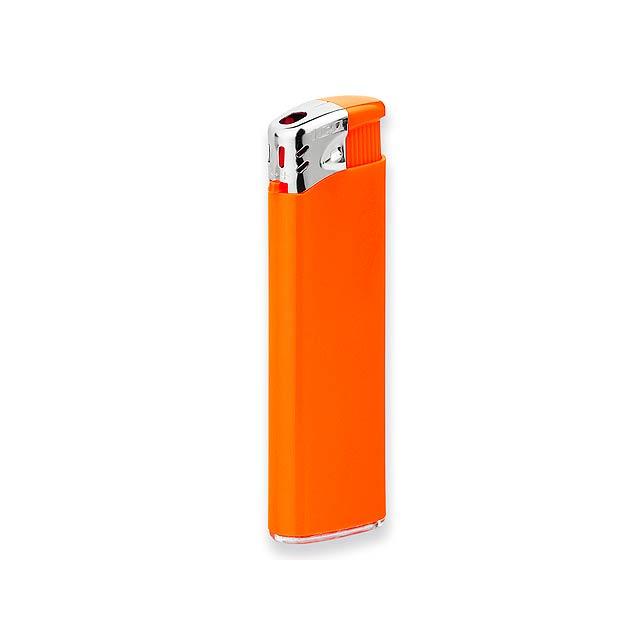 FLAMING - Plastový plynový zapalovač plnitelný s piezo zapalováním.          - oranžová