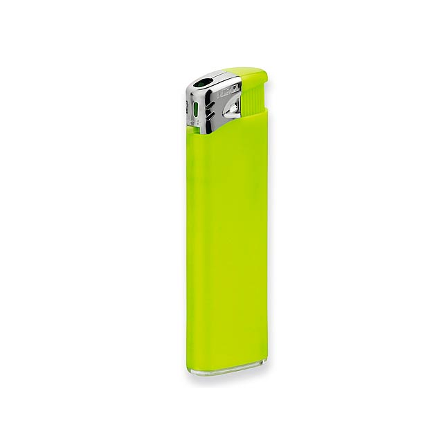 FLAMING - Plastic refillable piezo gas lighter. - yellow