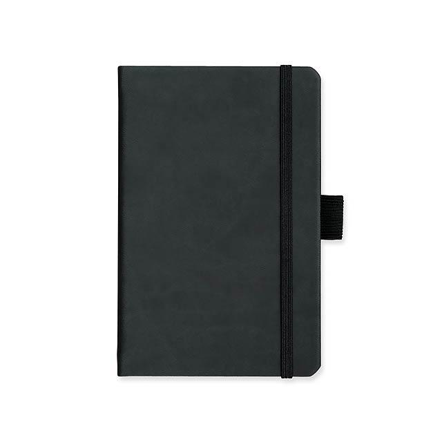 LANYO I - poznámkový zápisník s gumičkou 90x143 mm - černá