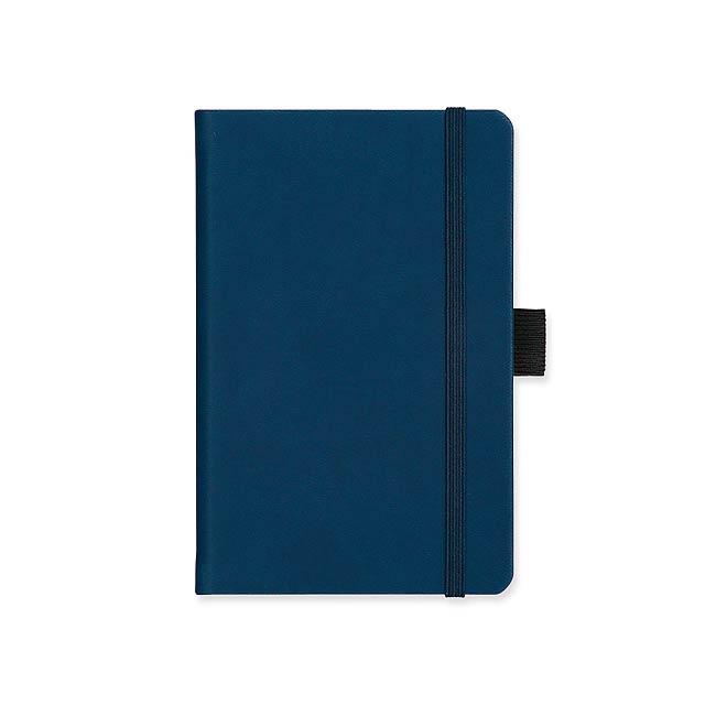 LANYO I - poznámkový zápisník s gumičkou 90x143 mm - modrá