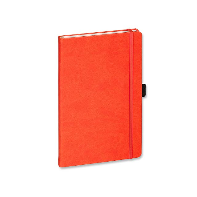 LANYO II poznámkový zápisník s gumičkou 132x213 mm, Oranžová - oranžová