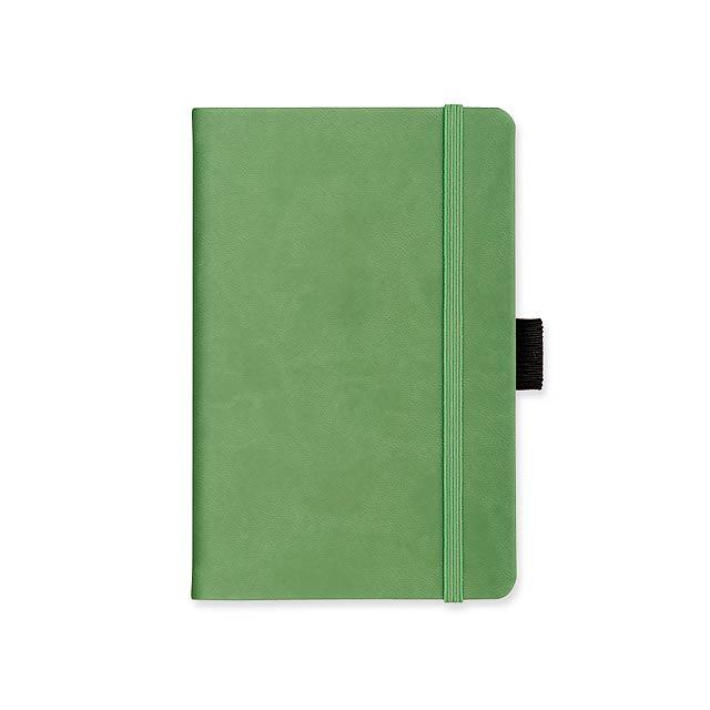 LANYO II - poznámkový zápisník s gumičkou 132x213 mm - zelená