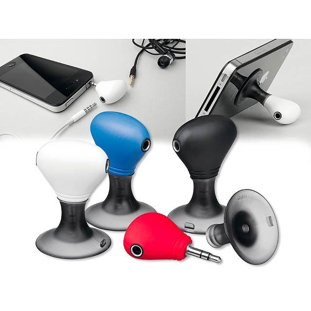 TWINS - plastový stojánek na mobil se dvěma výstupy pro sluchátka - bílá