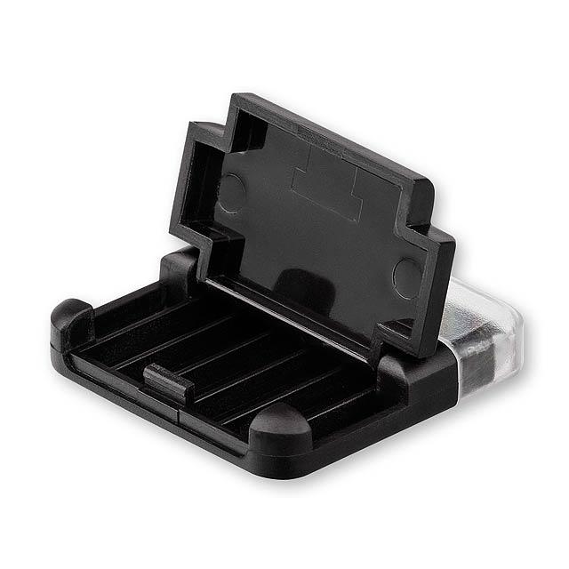 MOBI - plastový stojánek na mobil s čistítkem displeje - černá