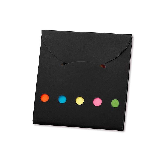 DEVITO - Colour sticky notes (25 notes/colour) in eco friendly paper cover. - black