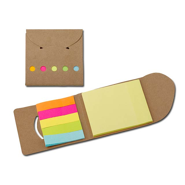 DEVITO - Colour sticky notes (25 notes/colour) in eco friendly paper cover. - brown