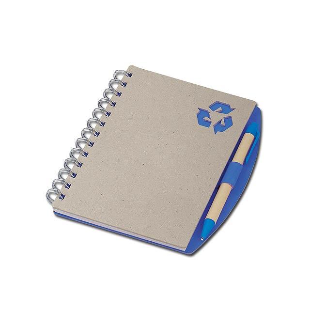 RAINER - psací blok s kuličkovým perem - modrá