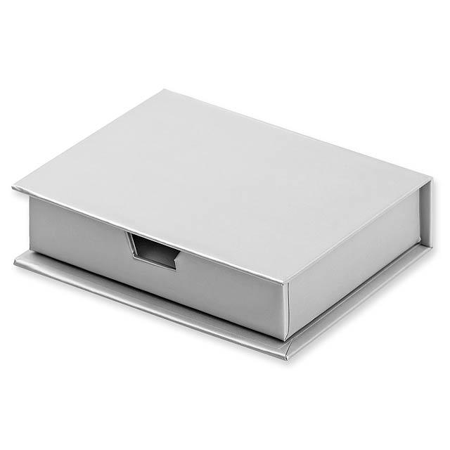 MEMO - sada papírků na poznámky včetně barevných lepících papírků - stříbrná
