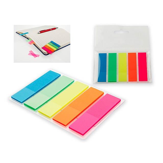 MISU - Neonově barevné fóliové lepicí lístky (25 lístků/barva).          - multicolor