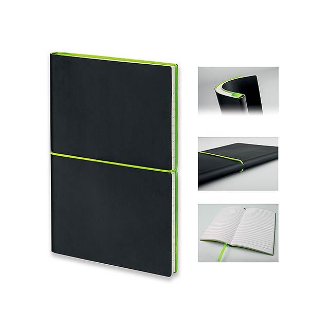 BLOGER - poznámkový zápisník s gumičkou 145x210 mm - zelená
