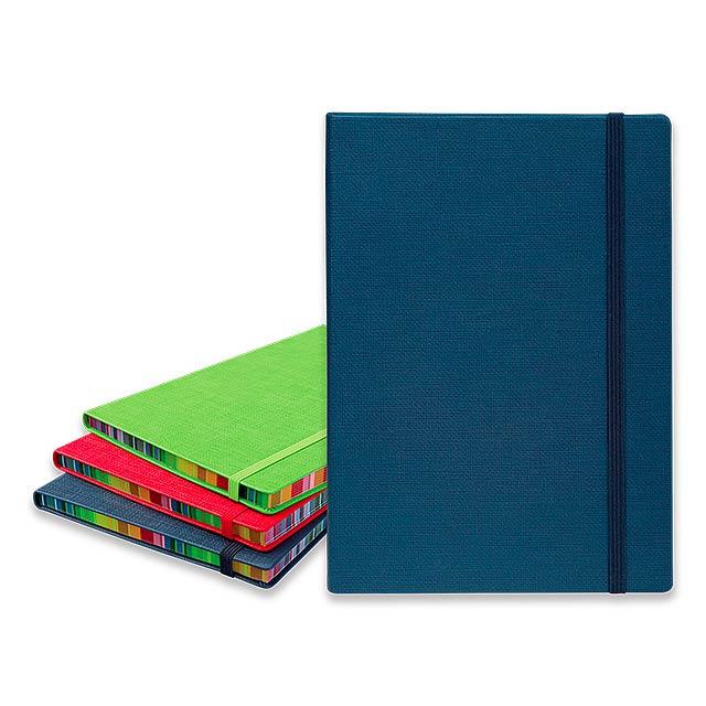COLOR NOTE II - poznámkový zápisník s gumičkou 145x210 mm - modrá