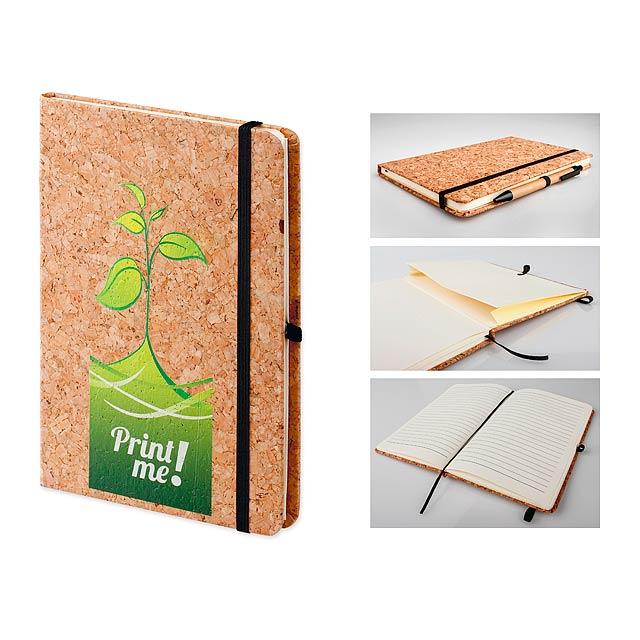ADRA II - Poznámkový zápisník s obálkou potaženou korkem, vlepenou kapsou a poutkem na psací potřeby   - béžová