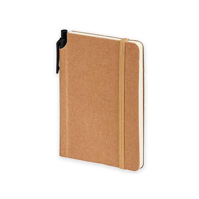 KAMEA I - Poznámkový zápisník s kuličkovým perem s modrou náplní, 160 linkovaných stran. Ekologicky šetrný výrobek.  - béžová