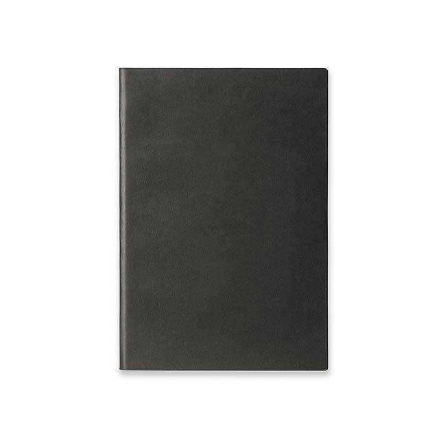ELIANA - Poznámkový zápisník s ohebnými deskami, 160 linkovaných stran.         - černá