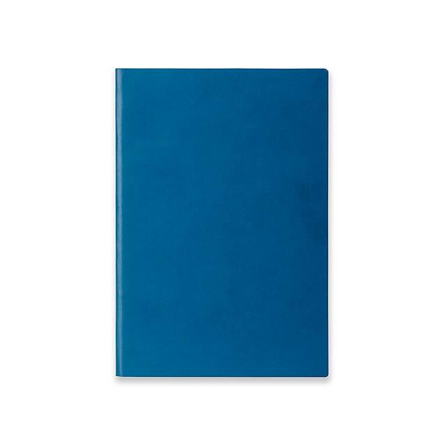 ELIANA - Poznámkový zápisník s ohebnými deskami, 160 linkovaných stran.         - modrá