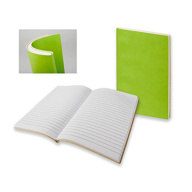 ELIANA - Poznámkový zápisník s ohebnými deskami, 160 linkovaných stran.         - citrónová - limetková