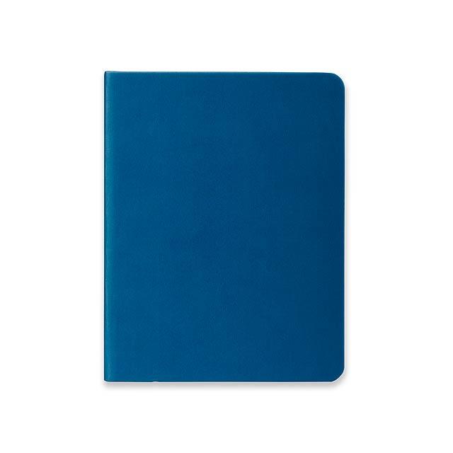 BRISA - Poznámkový zápisník se záložkou, 160 linkovaných stran.          - modrá