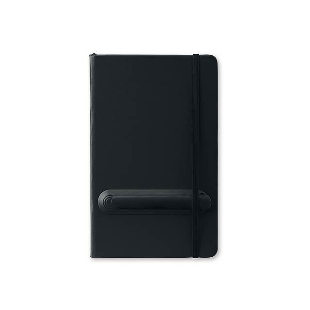LINKED - Poznámkový zápisník s gumičkou a plastovým perem, 160 linkovaných stran, velikost A5.     - černá