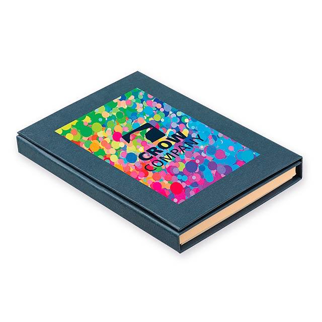 GIFFER psací blok s lepicími papírky, kuličkovým perem, 2 tužkami, pravít, Modrá - modrá