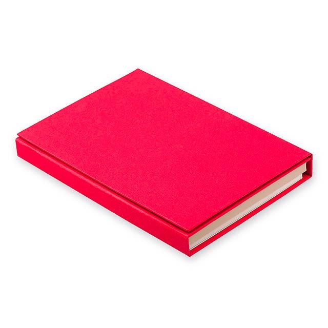 GIFFER psací blok s lepicími papírky, kuličkovým perem, 2 tužkami, pravít, Červená - červená