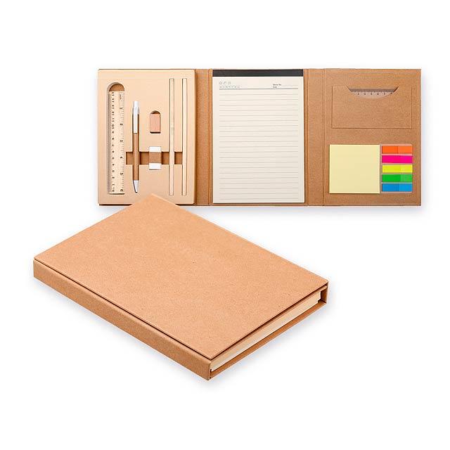 GIFFER psací blok s lepicími papírky, kuličkovým perem, 2 tužkami, pravít, Přírodní - béžová