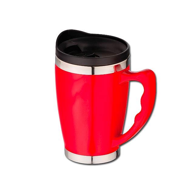 RAJANI - nerezový/plastový termohrnek s dvojitou stěnou, 400 ml - červená