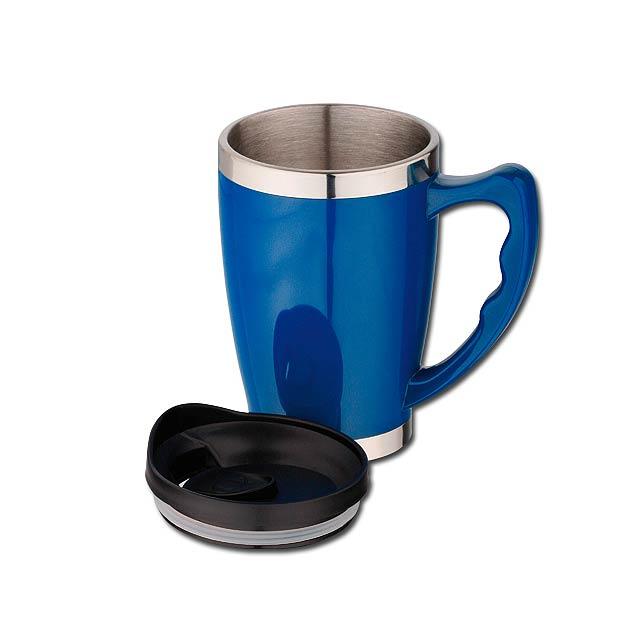 RAJANI - nerezový/plastový termohrnek s dvojitou stěnou, 400 ml - modrá
