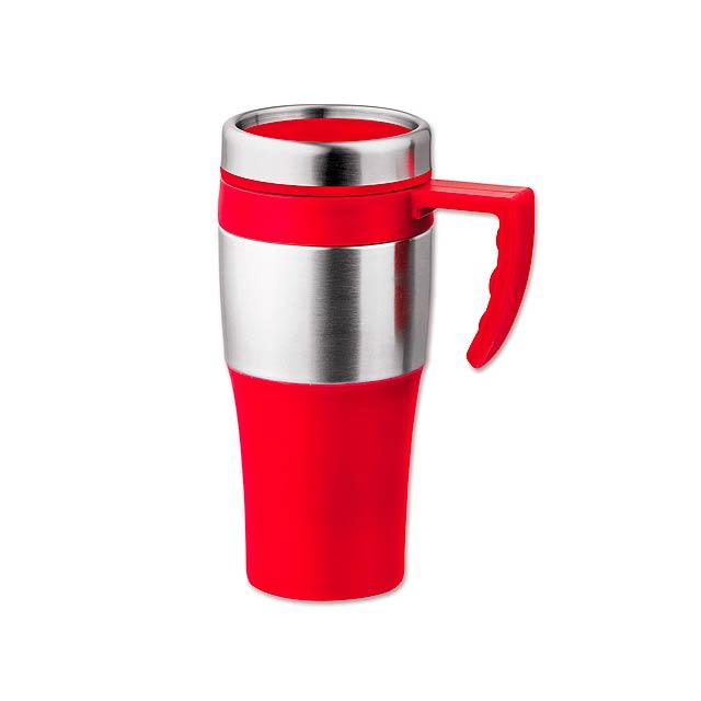 DONNIE - plastový/nerezový termohrnek s dvojitou stěnou, 375 ml - červená