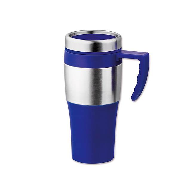 DONNIE - plastový/nerezový termohrnek s dvojitou stěnou, 375 ml - modrá