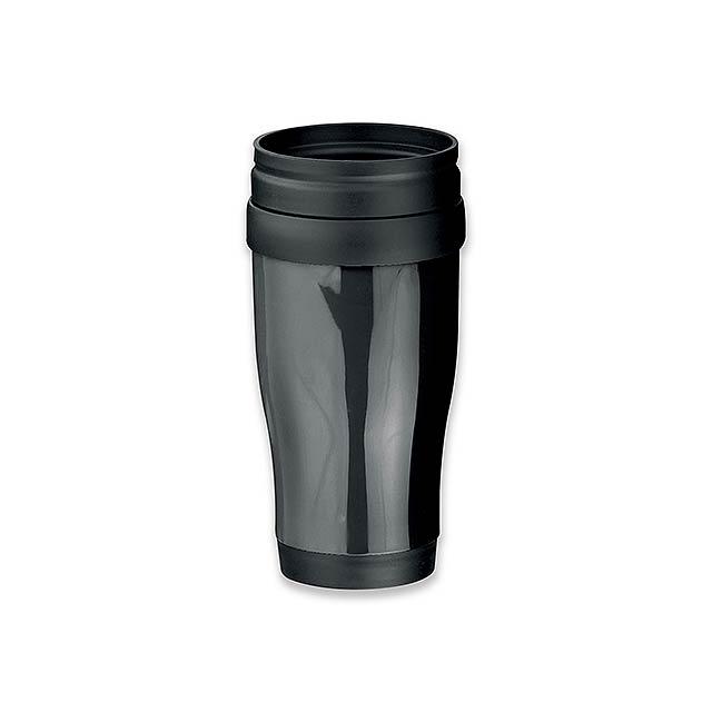 MARIO - plastový termohrnek s dvojitou stěnou, 400 ml - černá