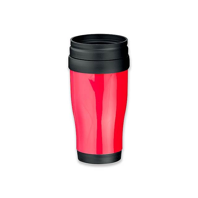 MARIO - plastový termohrnek s dvojitou stěnou, 400 ml - červená